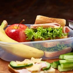 sandwich and fruit lunch